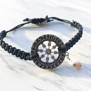 Silverskylight Jewelry - Viking compass (vegvisir) runes moonstone bracelet